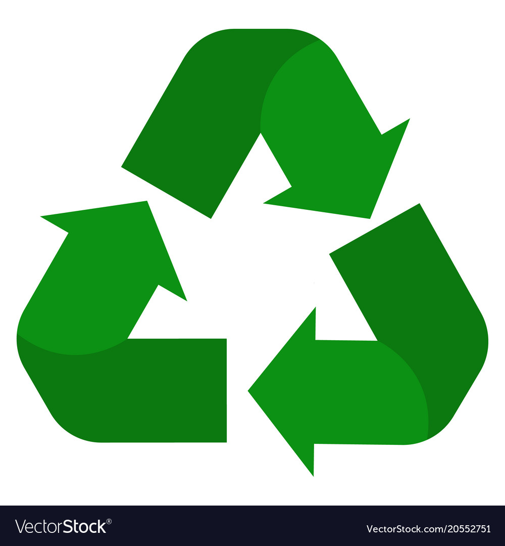 Recycle icon on white background green Royalty Free Vector