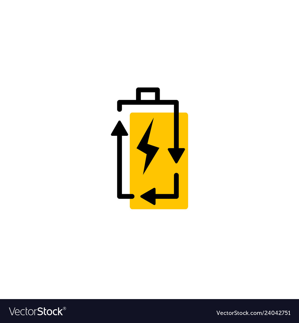 recycle rechargeable battery energy logo icon vector image vectorstock