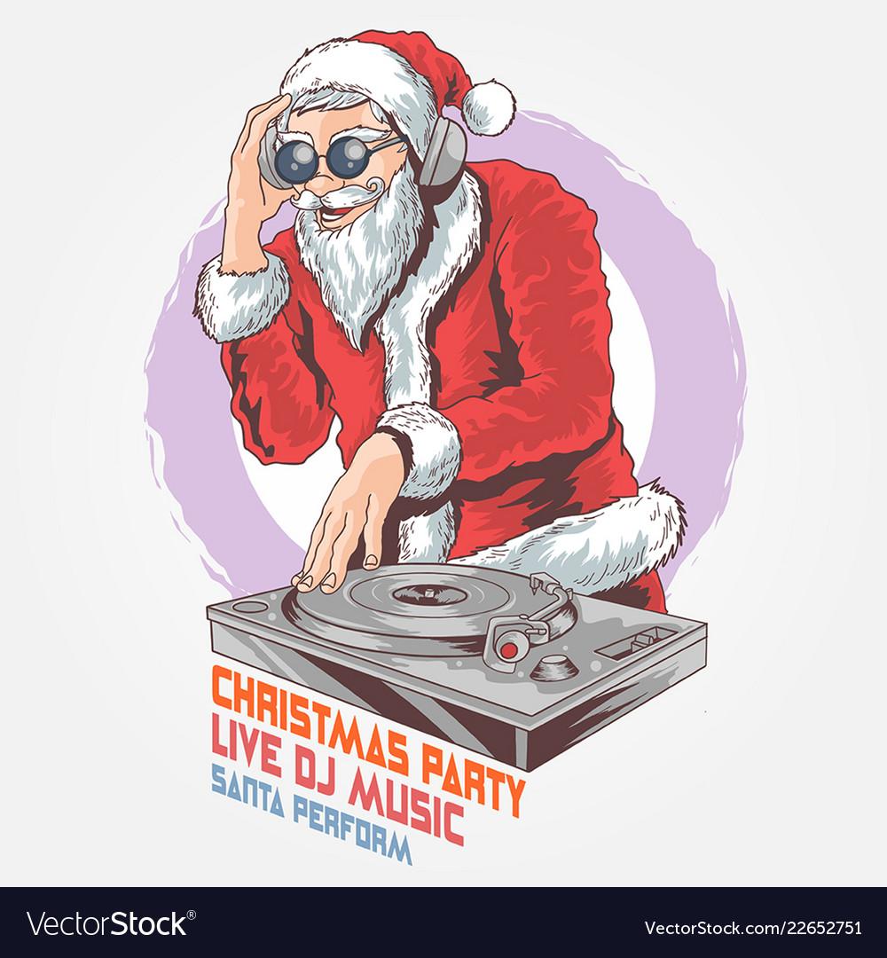 Santa claus dj christmas music party