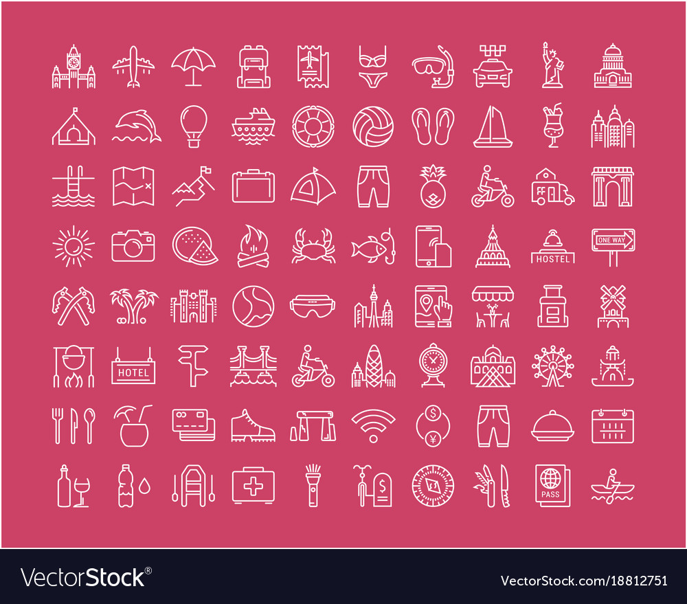Set flat line icons travel and adventure