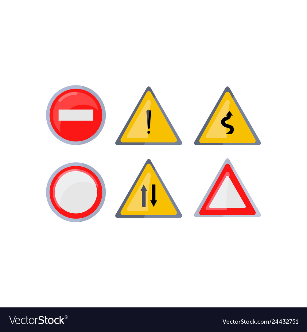 Triangle Road Signs >> Set Of Round And Triangle Road Signs Isolated On