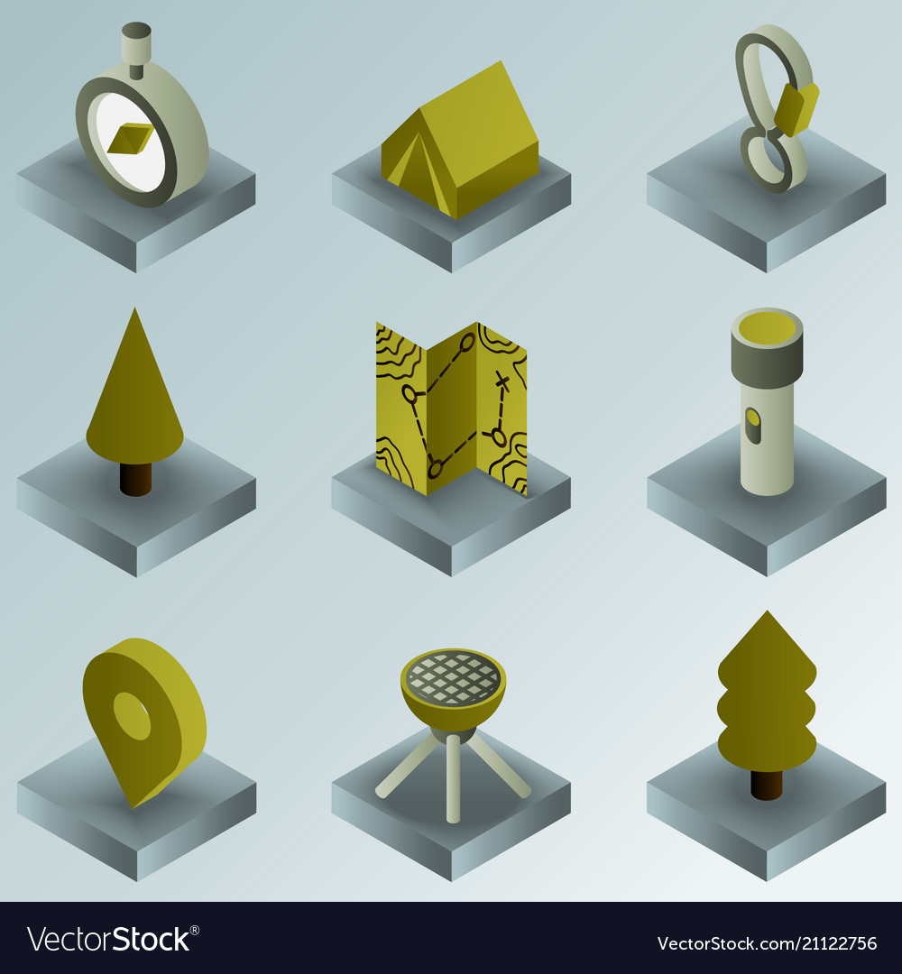 Camp color gradient isometric icons