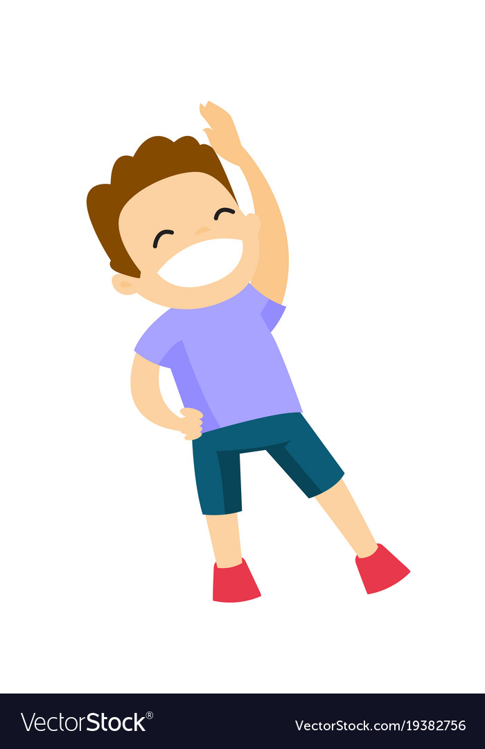 Caucasian Boy Doing Stretching Warm Up Exercise Vector Image