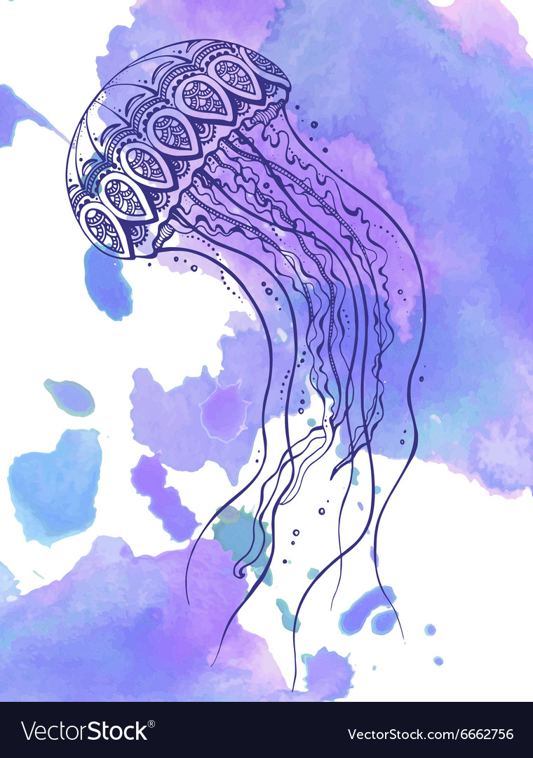 Hand drawn jellyfish in zentangle doodle style
