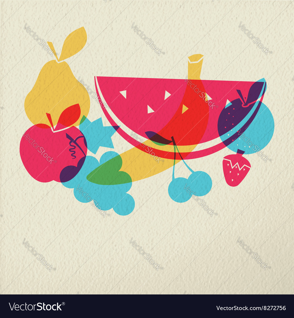 Healthy food diet fruit concept icon color design