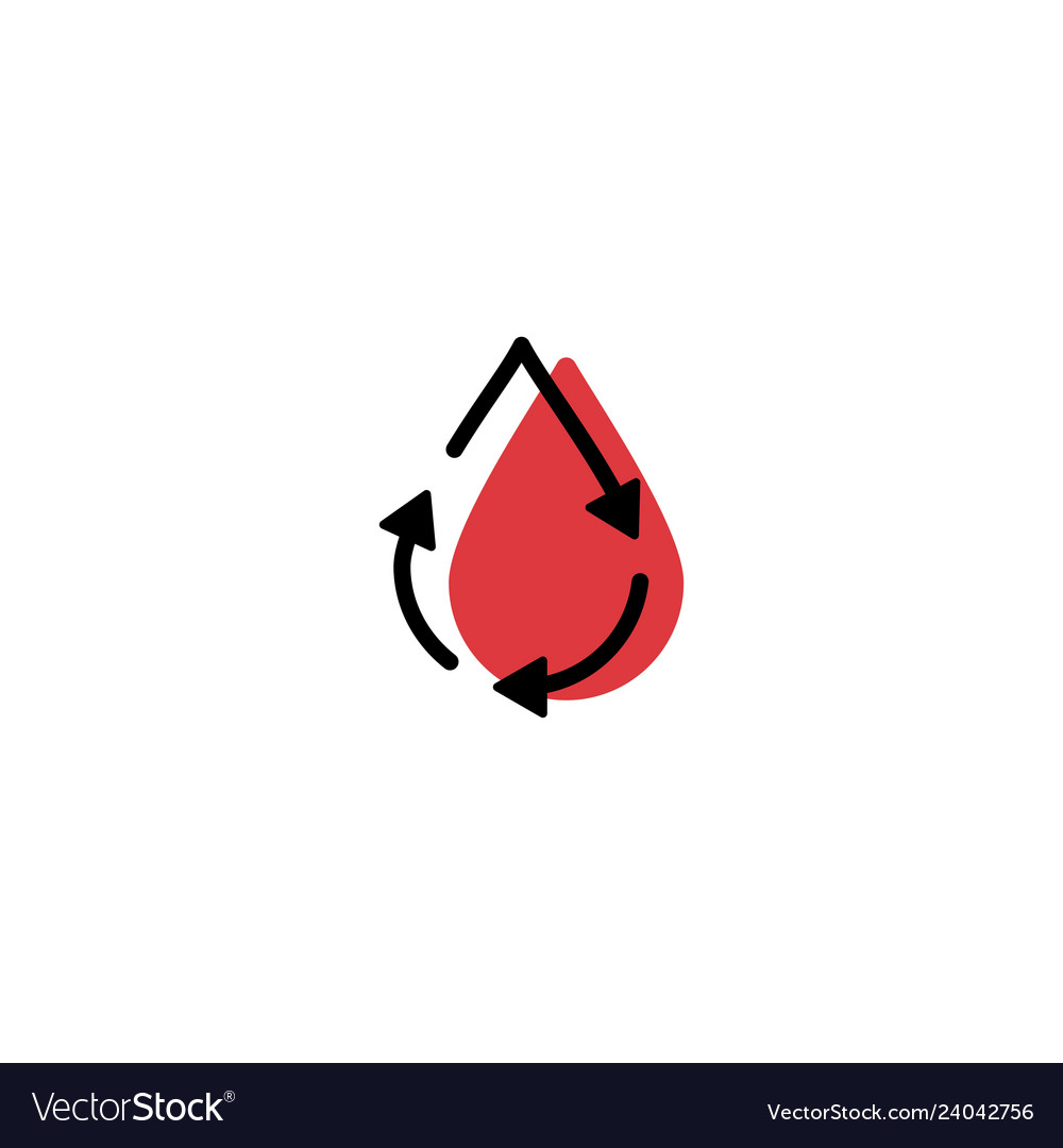 Recycle blood drop donor circulation logo icon