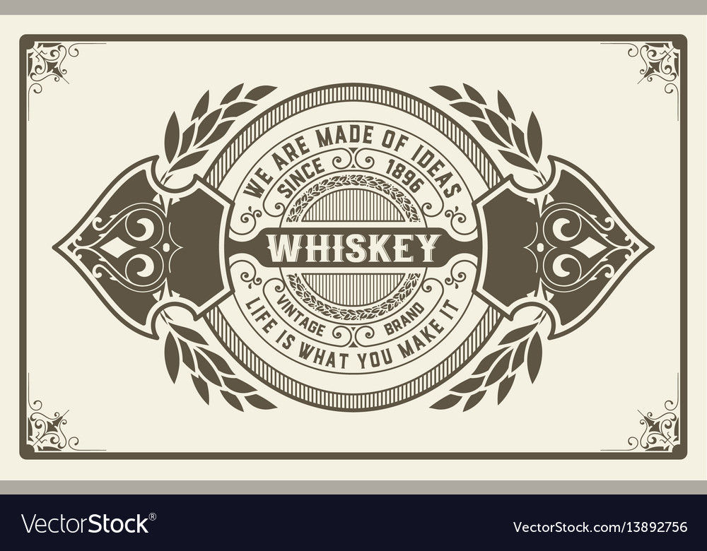 Retro logo for whiskey or other products with vector image
