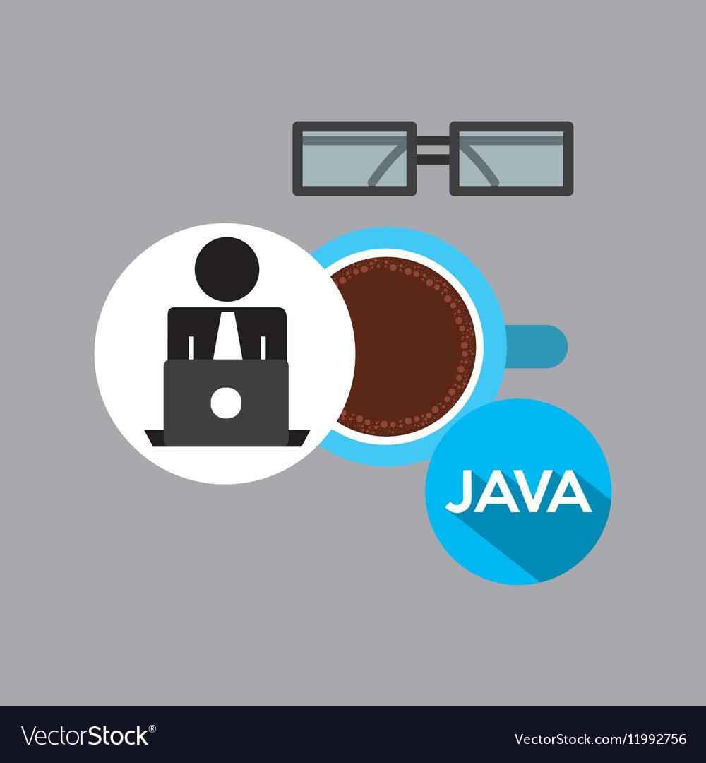 Silhouette programmer working laptop break time
