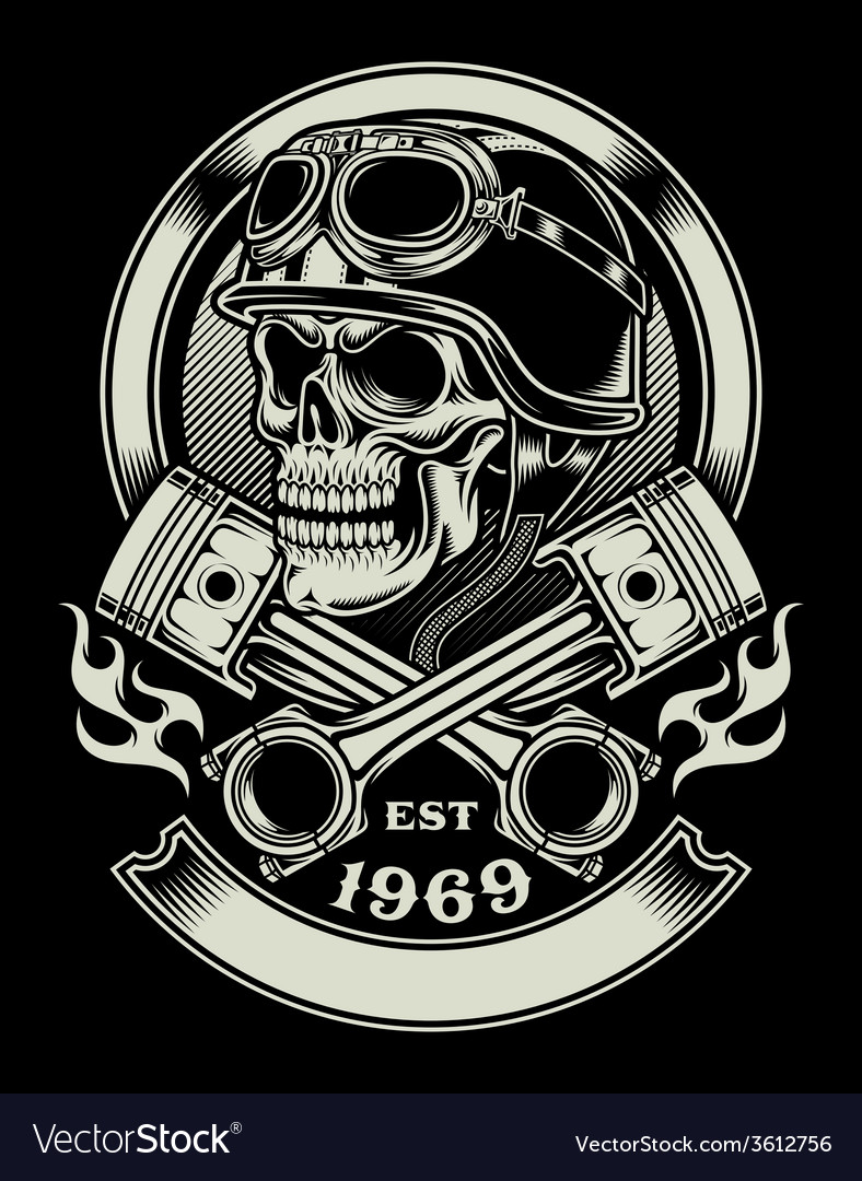 a9fc770652548 Vintage Biker Skull with Crossed Piston Emblem Vector Image