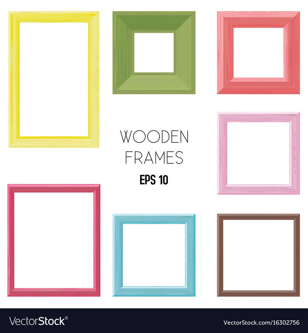 Wooden frames color set