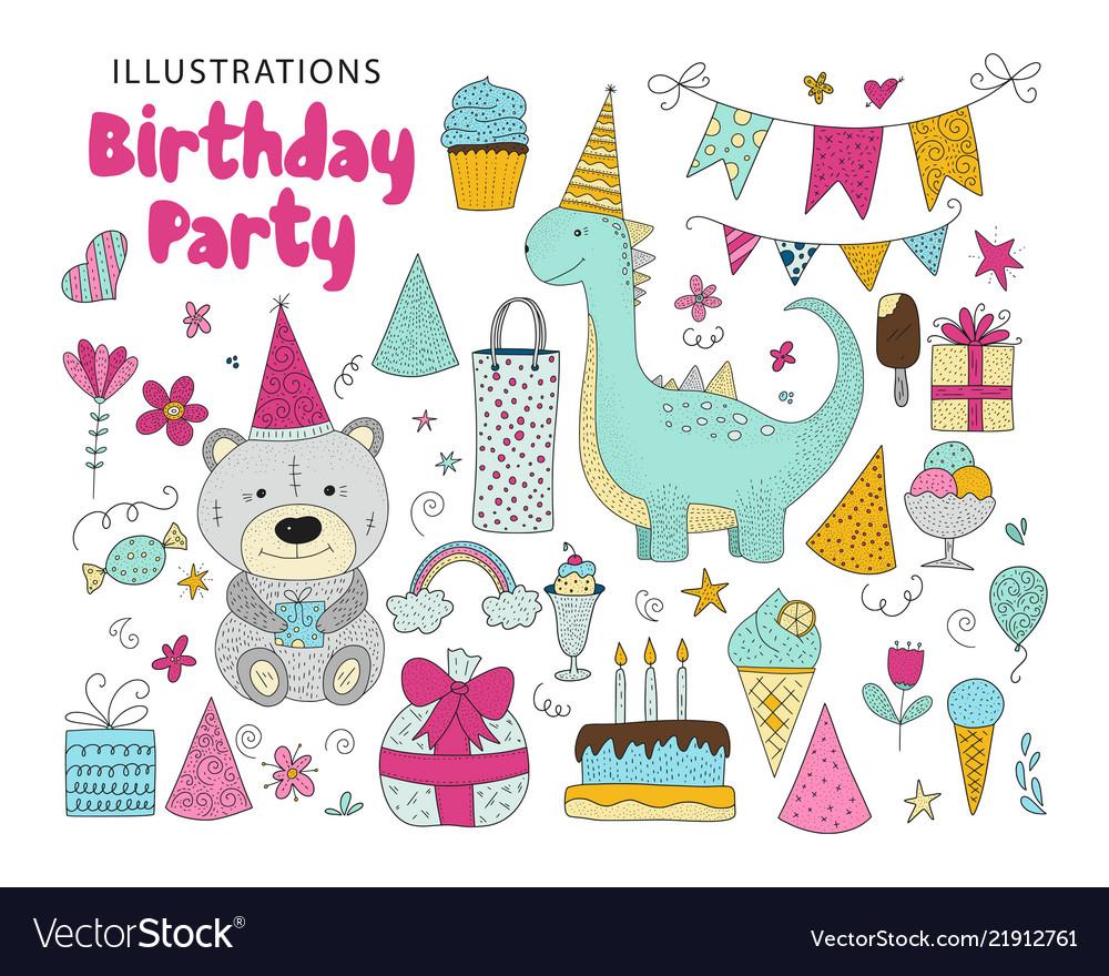 Big set of birthday party clip arts