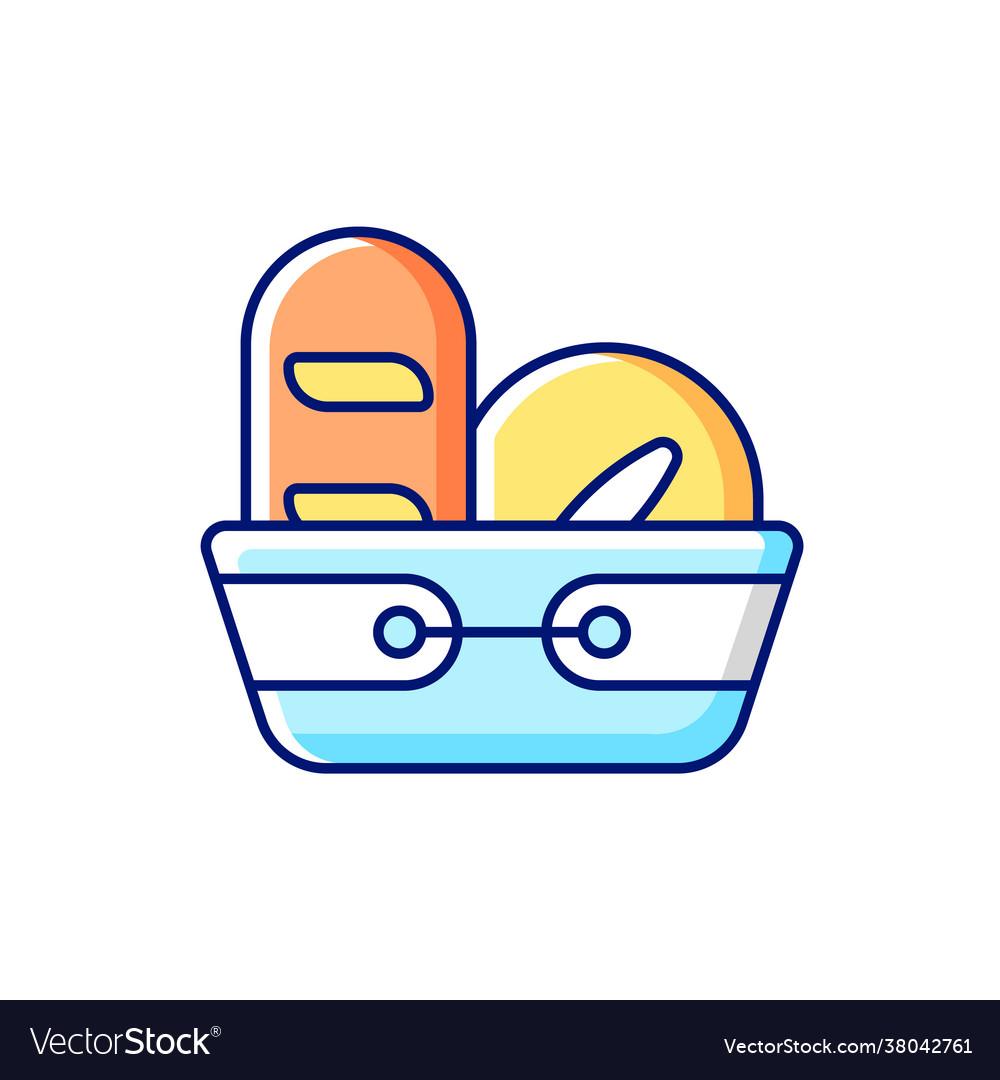 Bread basket rgb color icon