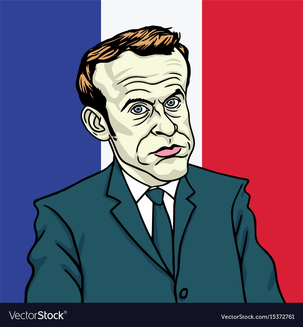 Emmanuel Macron Cartoon Caricature Portrait Vector Image