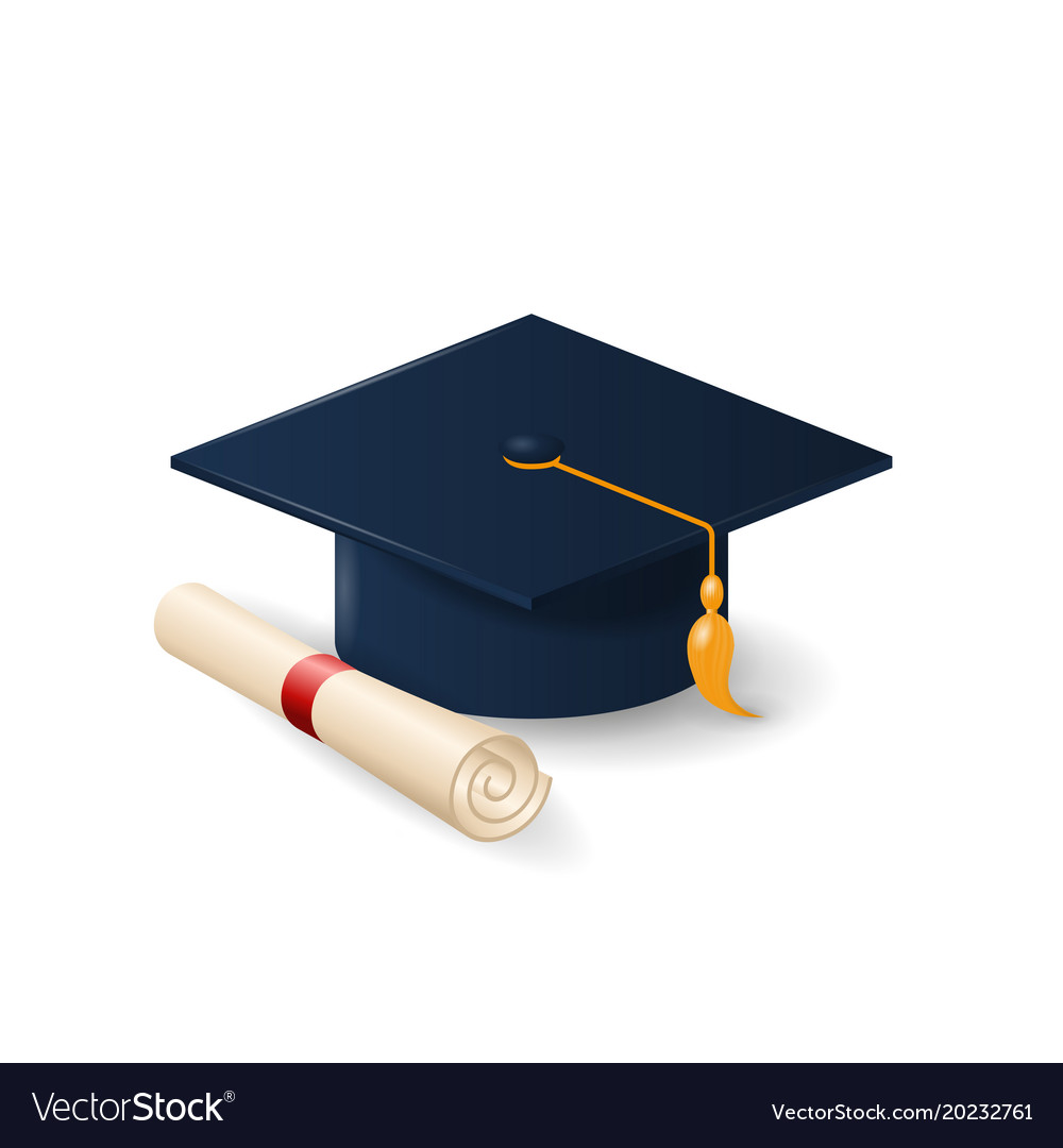 Graduation Cap Or Mortar Board And Rolled Diploma Vector Image