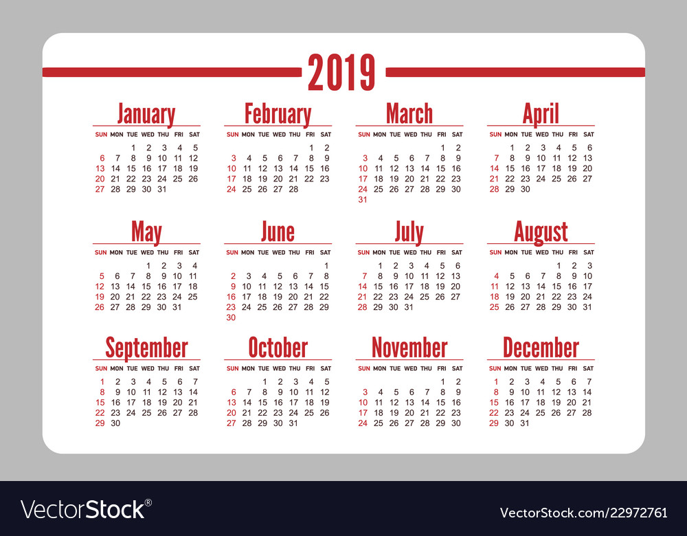 horizontal red pocket calendar on 2019 year vector image