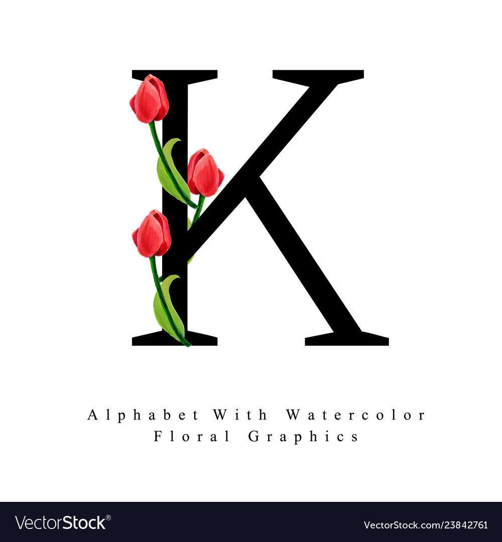 Letter K Watercolor Floral Background Royalty Free Vector