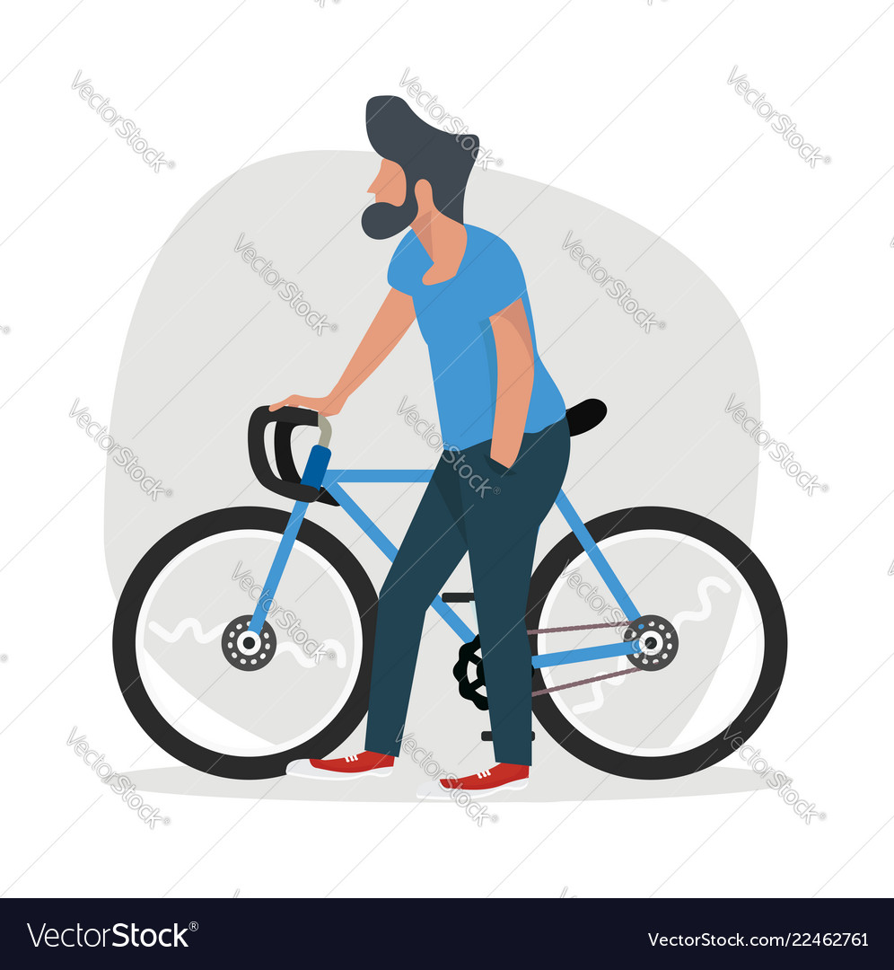 Man walk with a bicycle