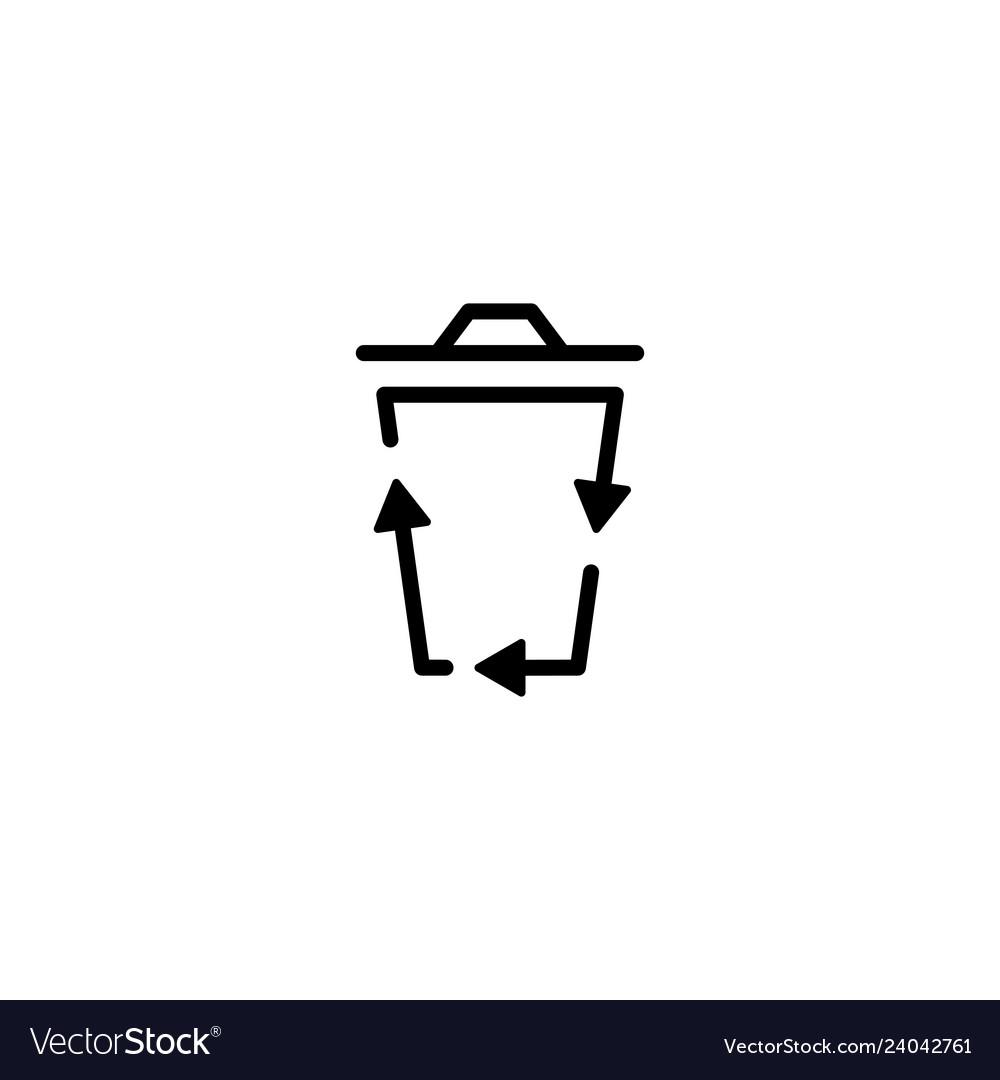 Recycle bin logo icon organic line outline
