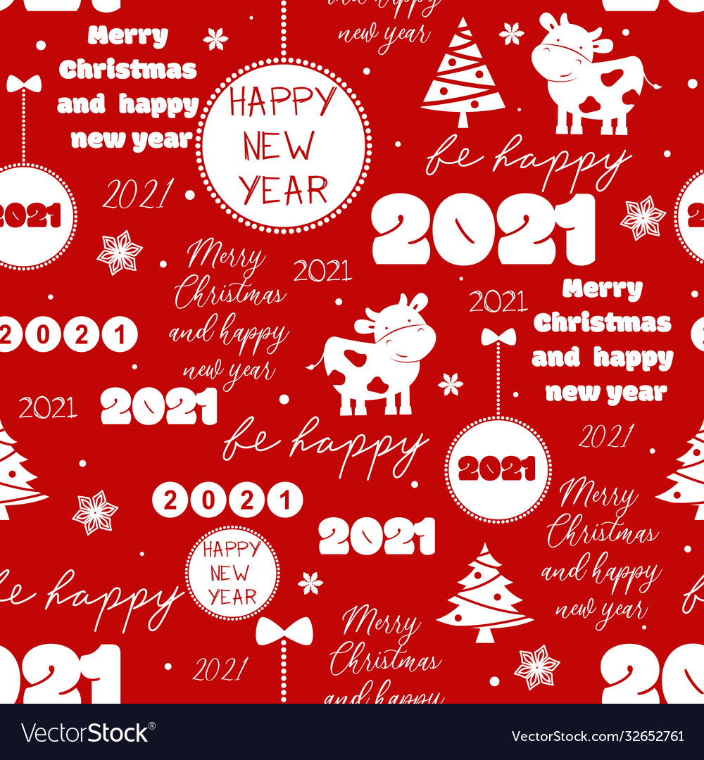 seamless new year 2021 pattern funny christmas vector image seamless new year 2021 pattern funny christmas vector image
