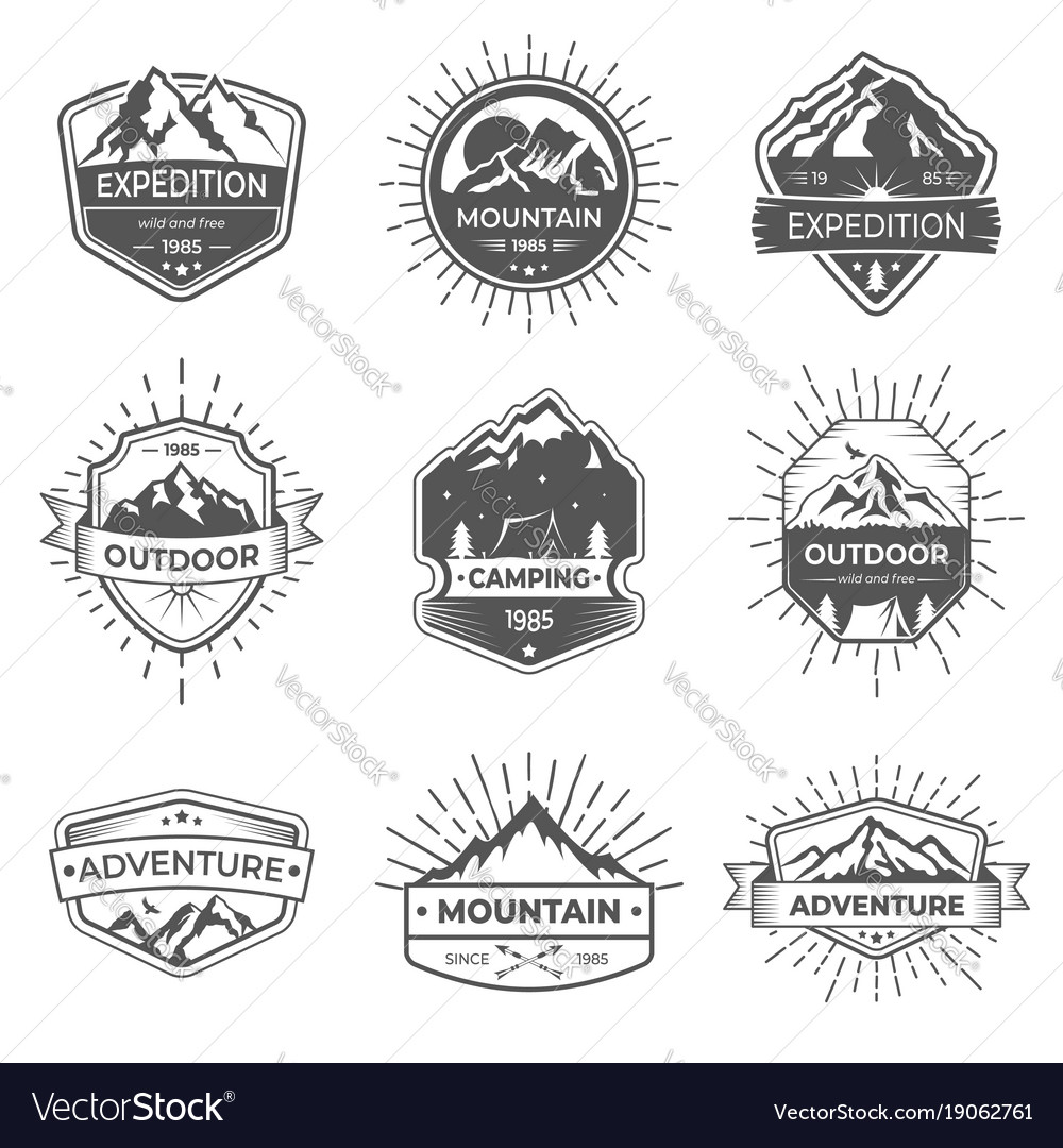Set of nine mountain and outdoor adventures