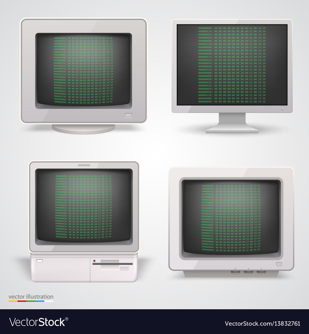 Set of retro computers