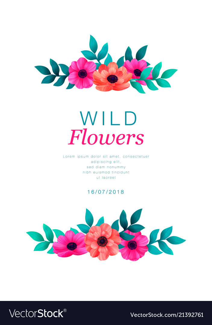 Tropical flowers border template vertical design