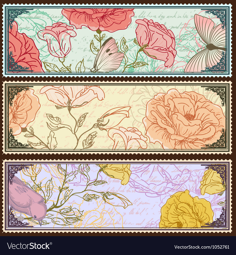 Vintage banners with handdrawn roses vector image