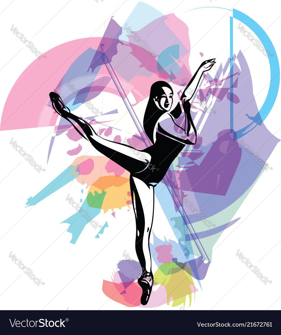 Woman doing yoga abstract lines drawing