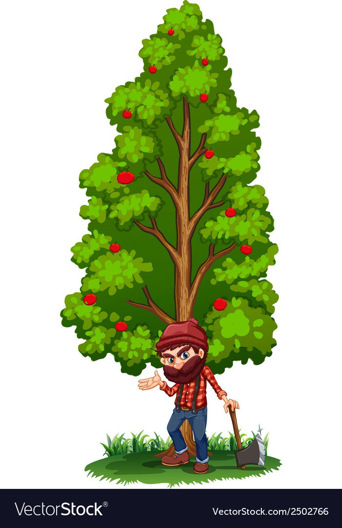 A woodman under the tree with an axe