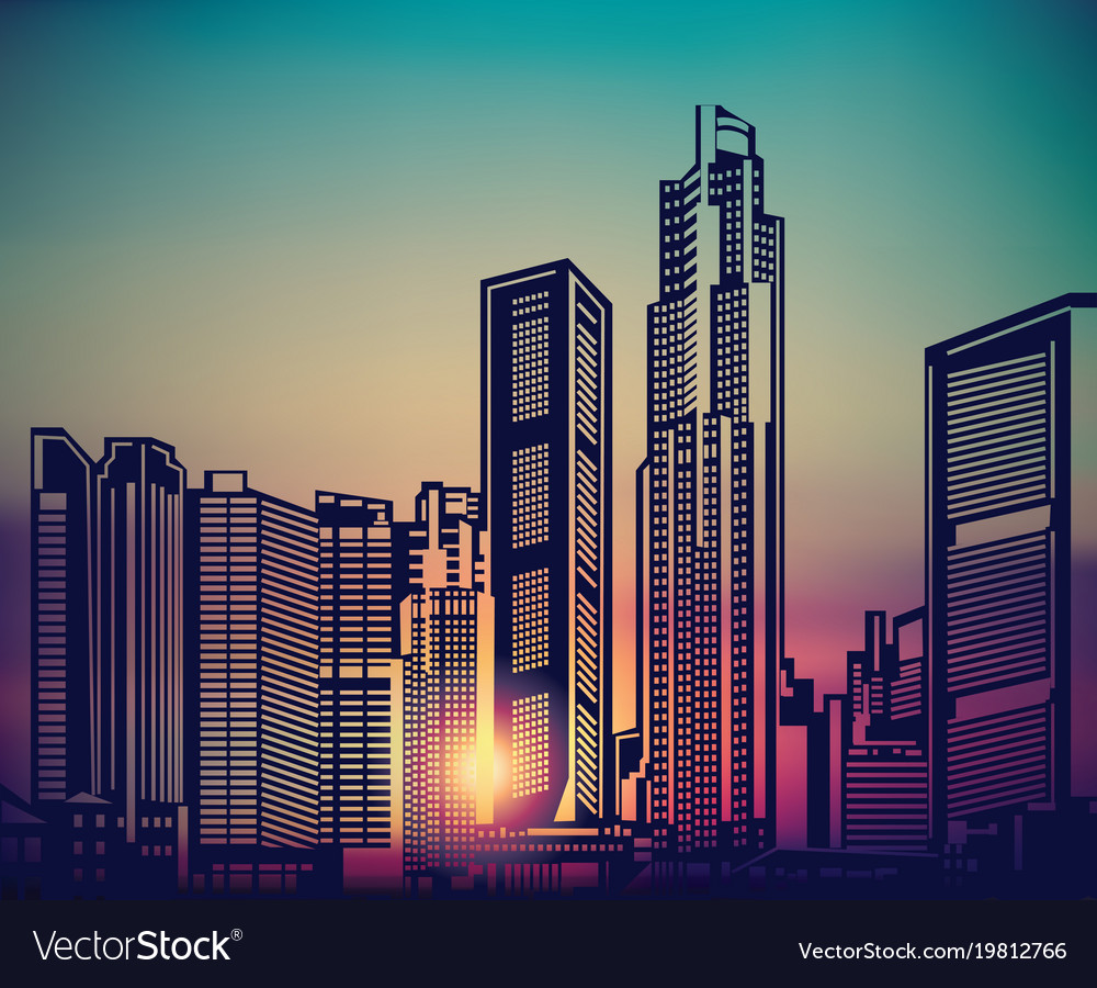 abstract city landscape sunset sky royalty free vector image