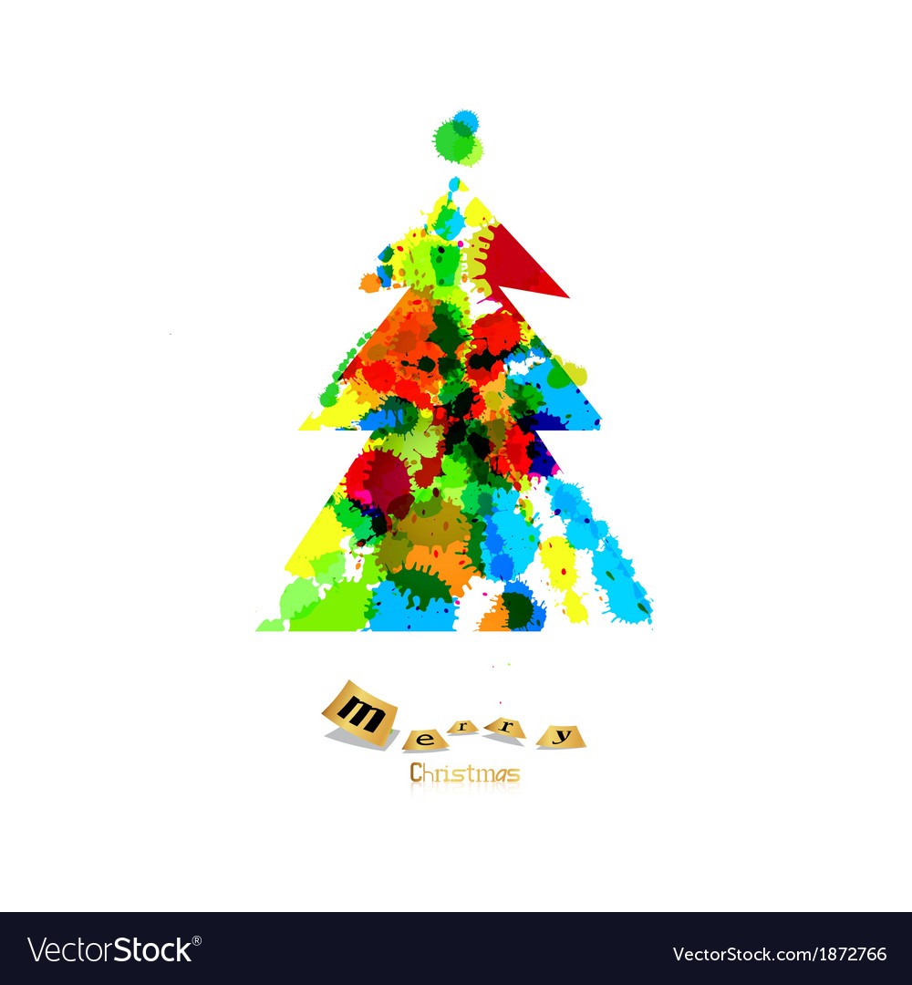 Colorful Christmas Tree Vector.Abstract Colorful Christmas Tree Made From