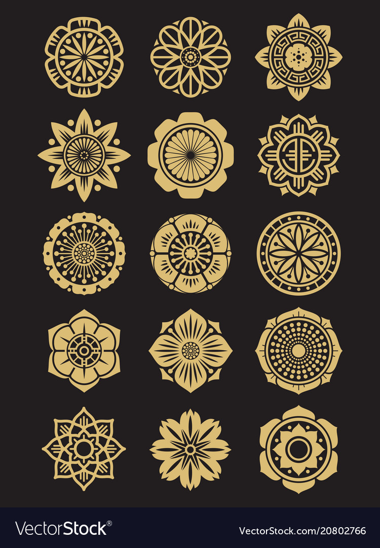 Asian flowers icons set isolated on black