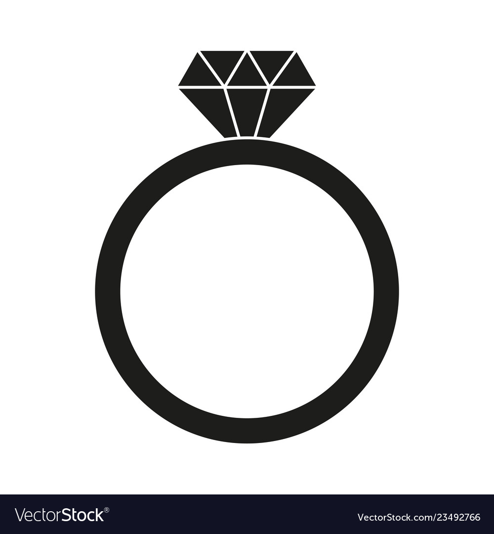 black and white diamond ring silhouette royalty free vector vectorstock