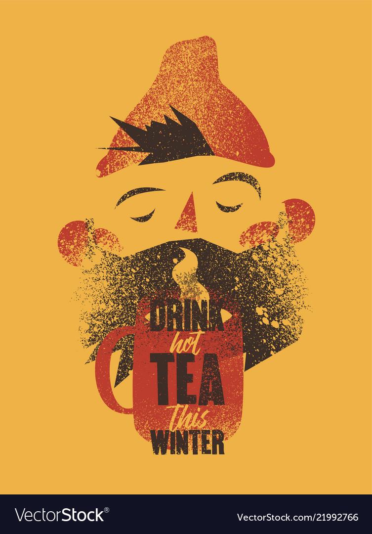 Cartoon bearded man with cup of tea