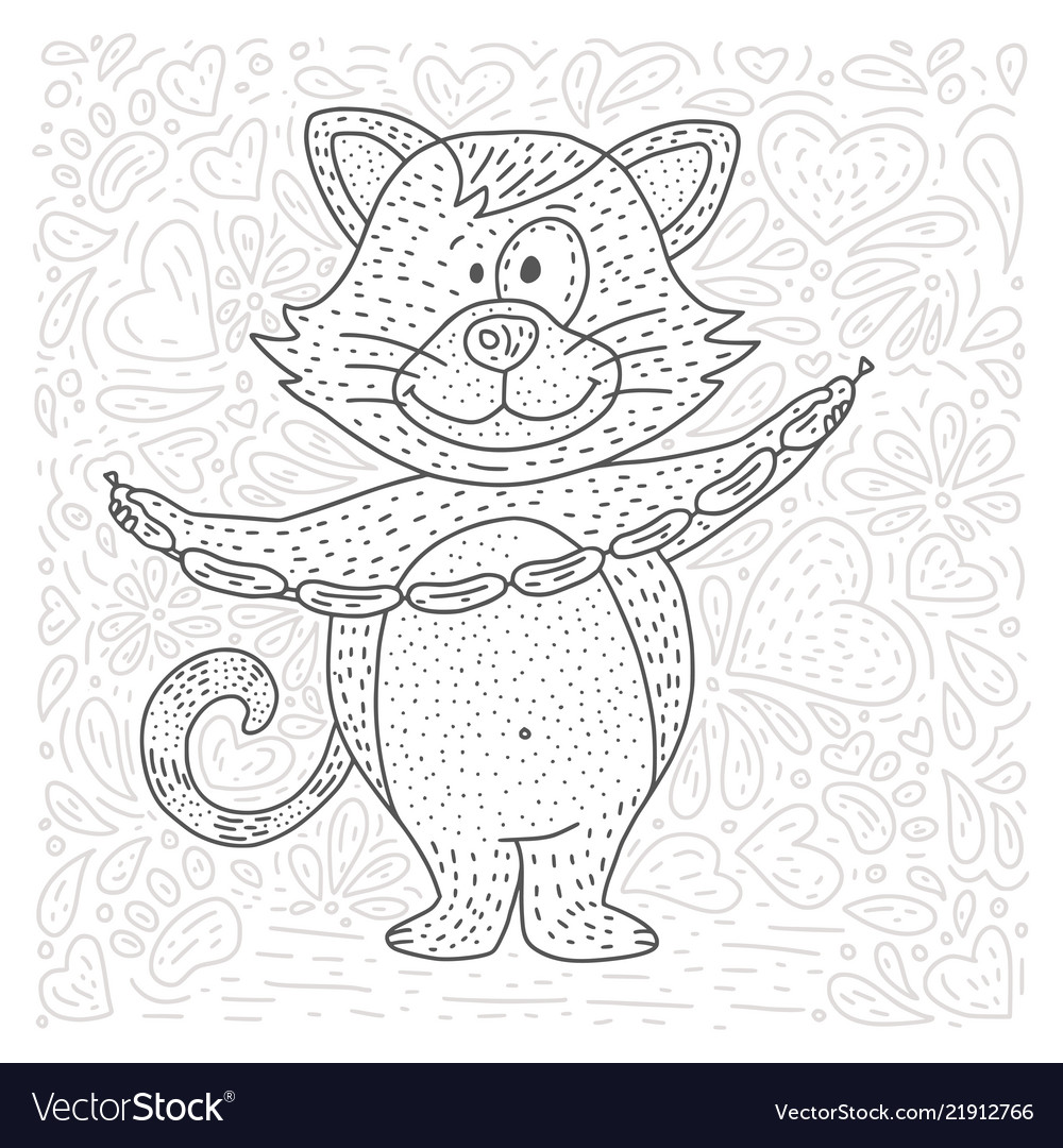 Coloring page with happy cat