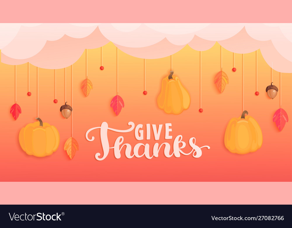 Give thanks banner for happy holiday