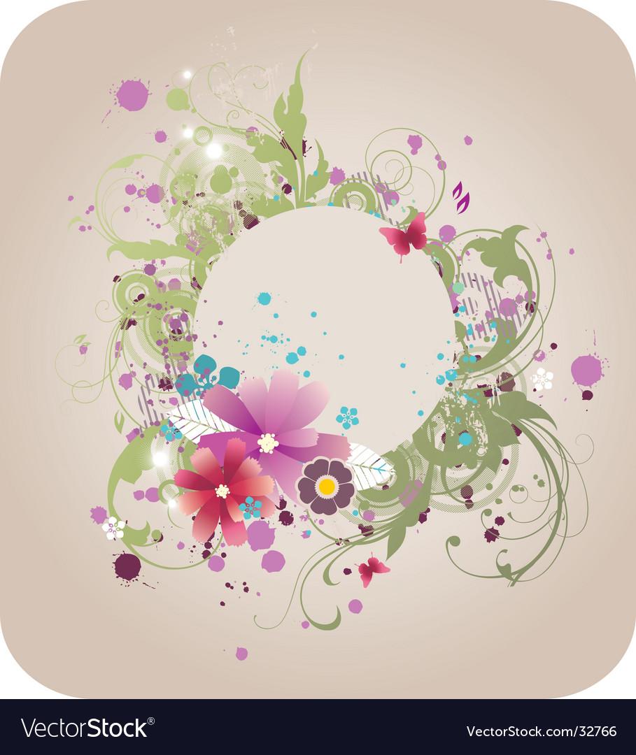 Grunge elegant floral frame