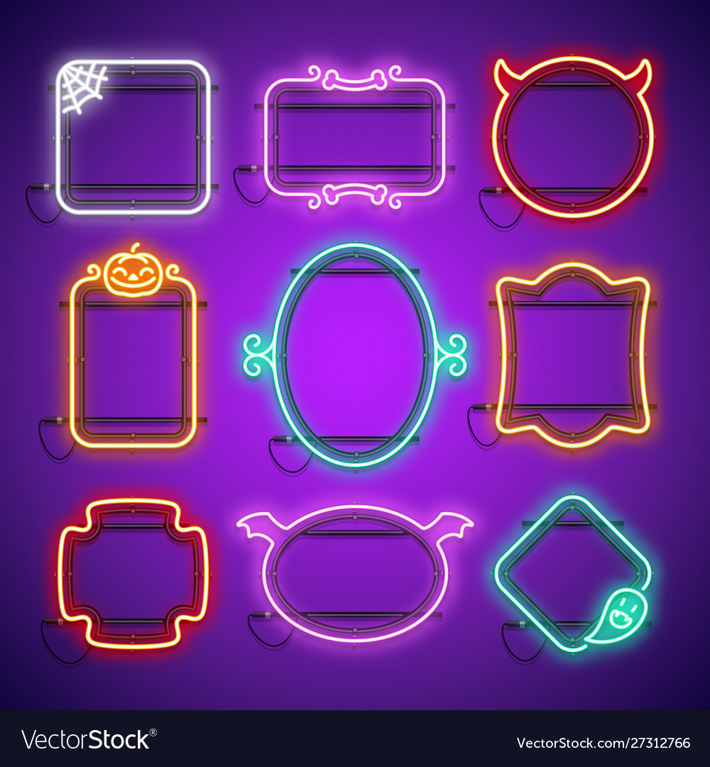 Halloween neon frames set in gothic horror style