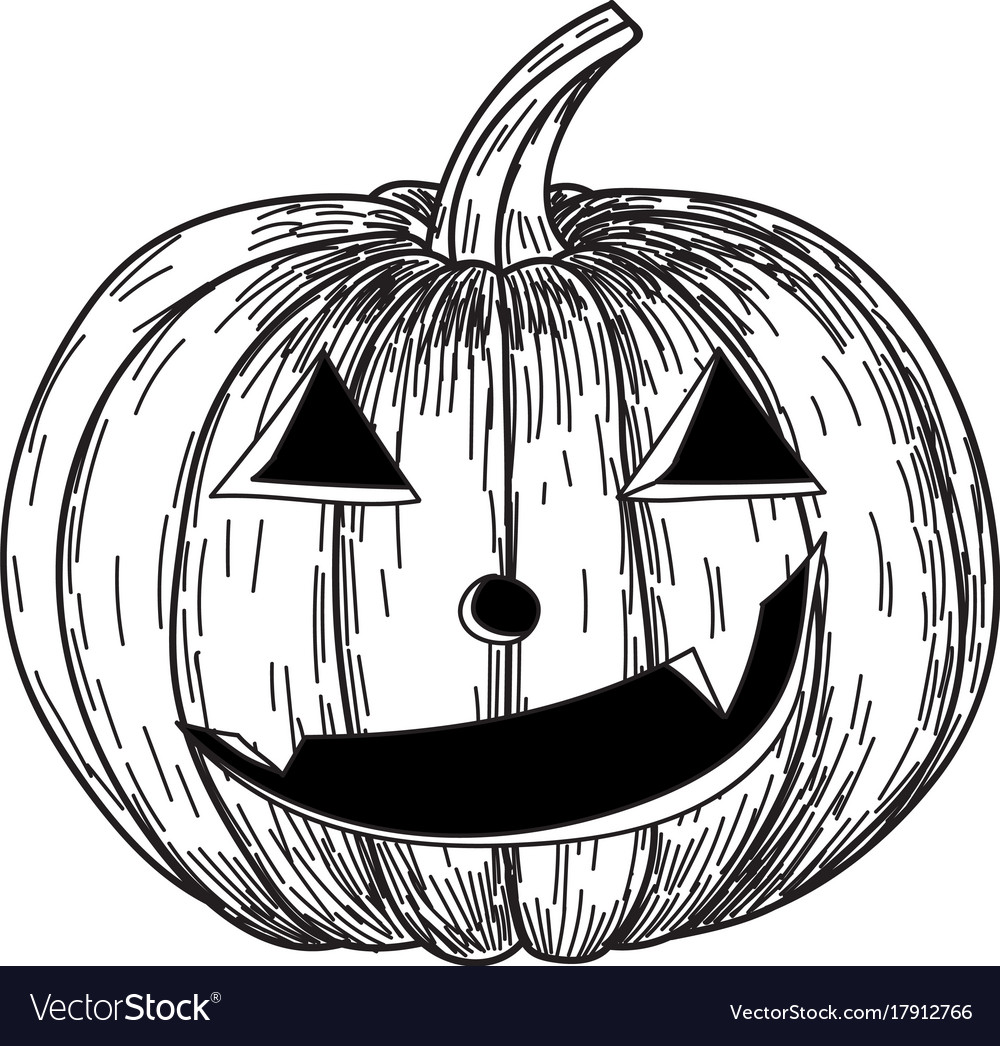 Halloween pumpkin with evil scary smile in funny