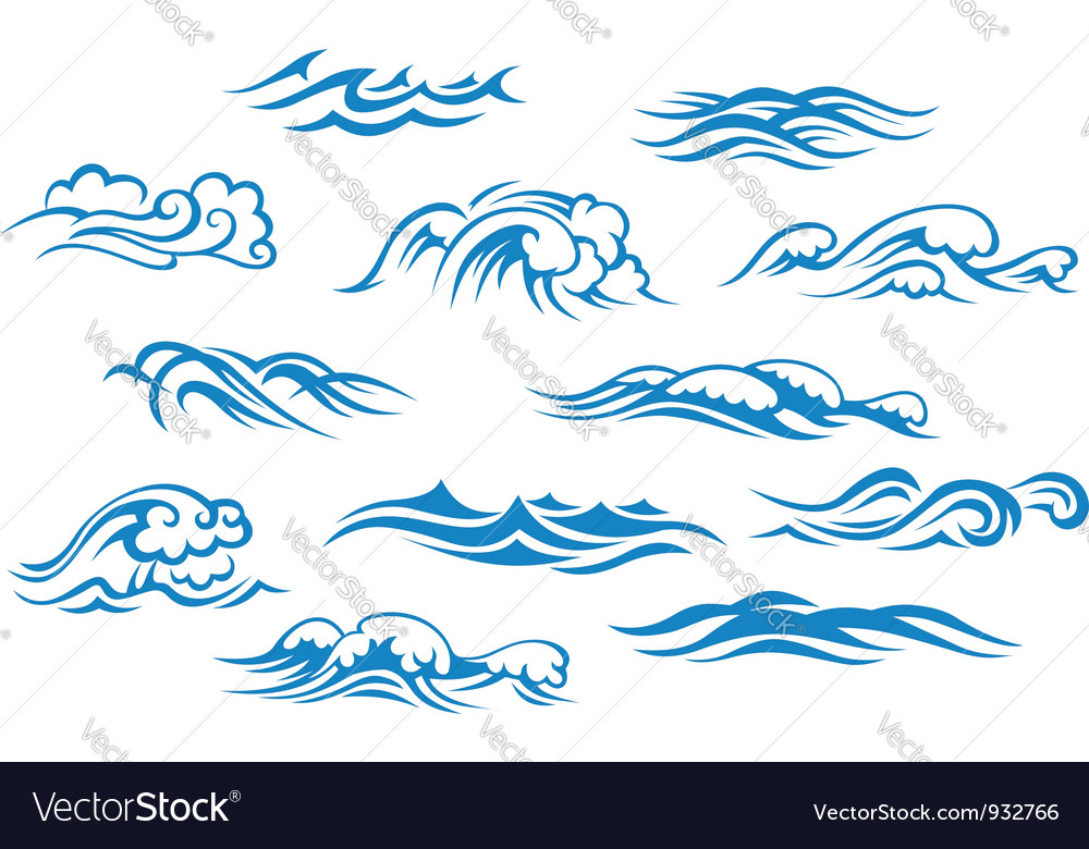 Ocean and sea waves set