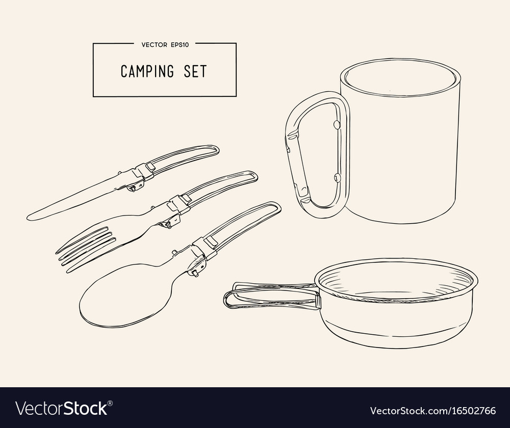 Set of hand drawn camping equipment drawing