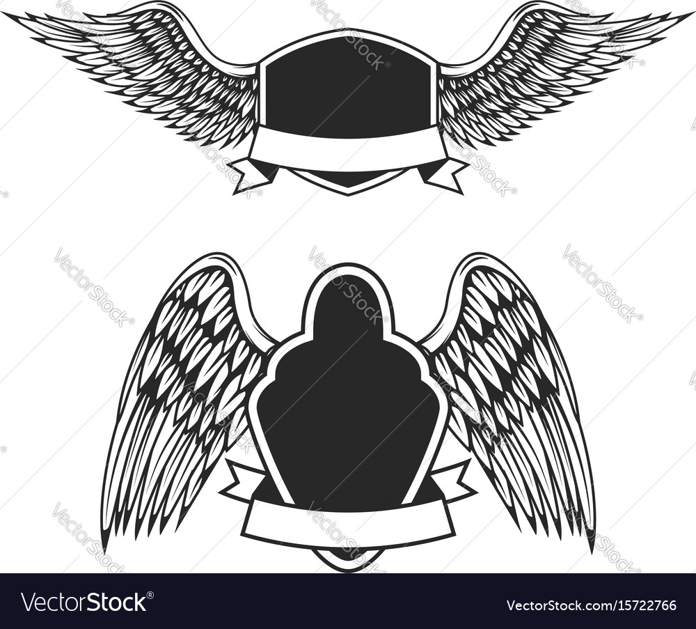 Set of the empty emblems with wings design