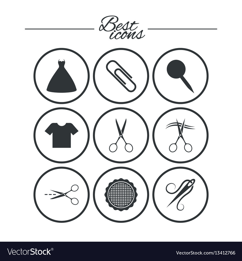 Tailor sewing and embroidery icons scissors