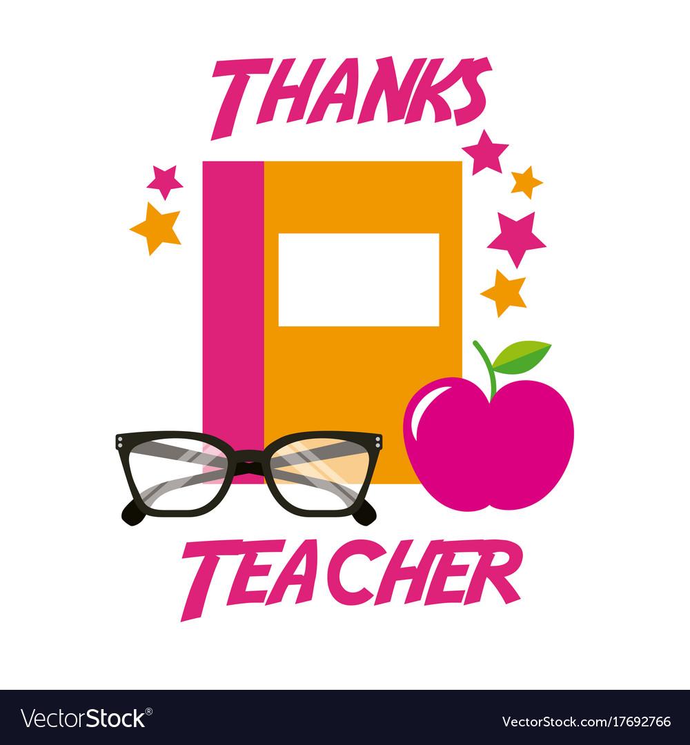 Thanks teacher card book apple glasses royalty free vector thanks teacher card book apple glasses vector image altavistaventures Images