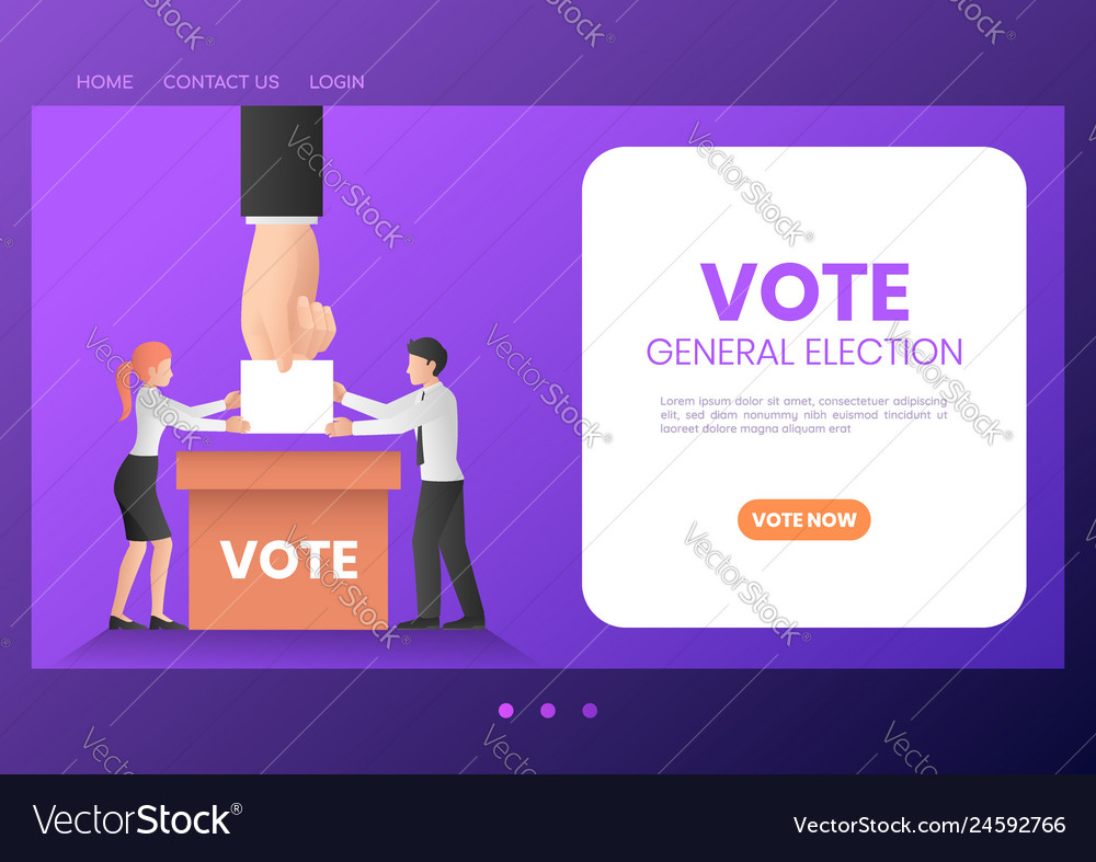 Web banner business people putting ballot paper