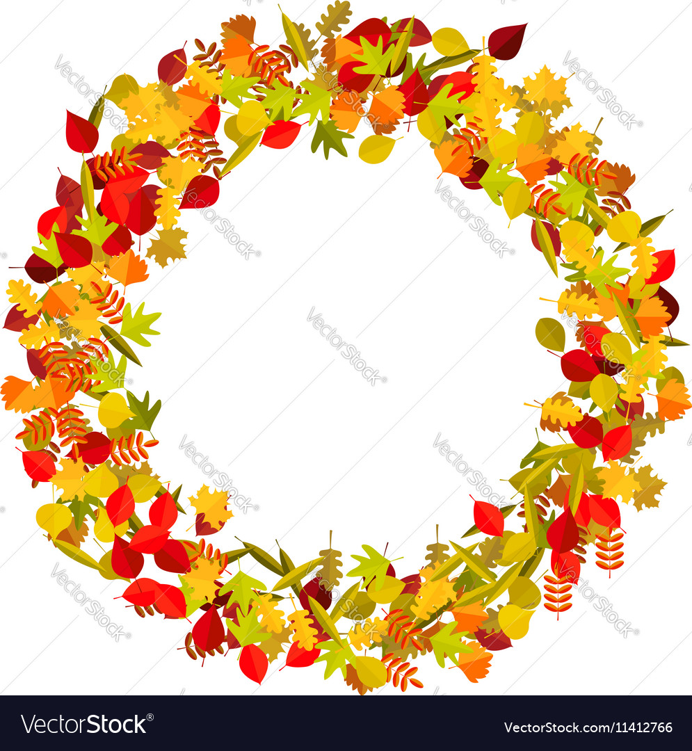 Wreath from yellow autumn leaves Design element