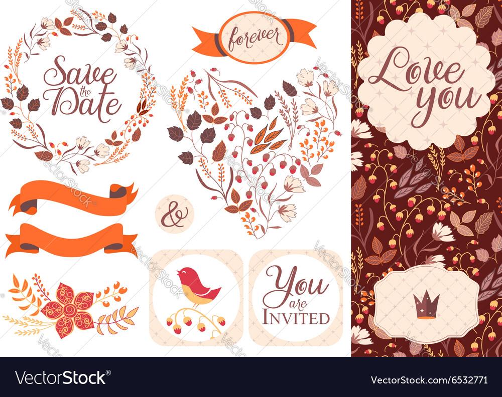 BIG Wedding graphic set isolated on white