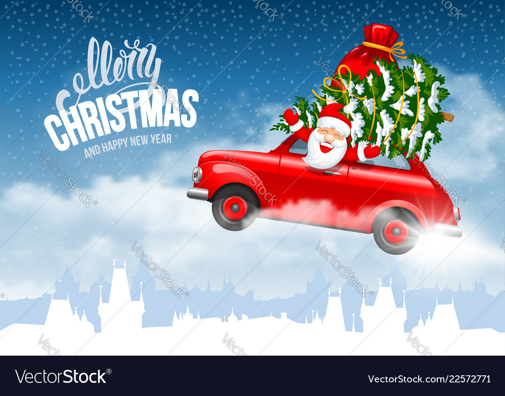 Christmas character santa flying in the car