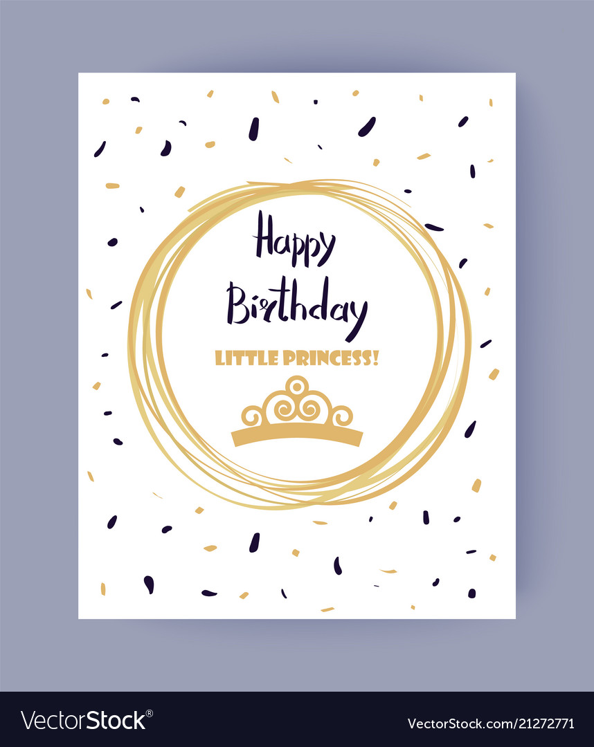 Cute happy birthday little princess color banner