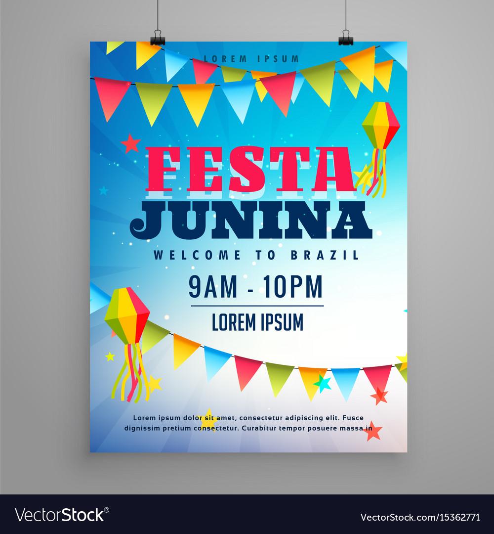 Festa junina celebration poster flyer design with vector image